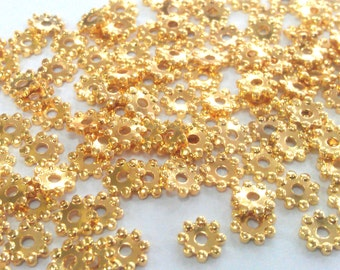 50 Pcs (5 mm) Gold Plated Spacer Daisy   G1527