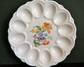 Classic 1930's, Vintage Deviled Egg Dish, Pretty Wildflower Floral on Cream Colored Ceramic, Ebeling & Reuss, E R American Artware, Easter
