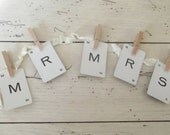 Mr. And Mrs. Banner Rustic Wedding Sign Mr. & Mrs. Garland Bridal Photo Prop Letter Cards Wedding Decor Signs