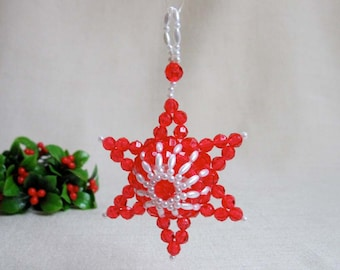 1970s Vintage Beaded Star Ornament, Hand Crafted 3 Dimensional Star Ornament Made of Beads, Vintage Christmas Holiday Decor