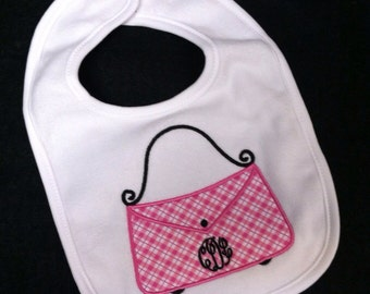 Purse appliqued bib / Monogrammed / personalized / appliquéd bib with Purse