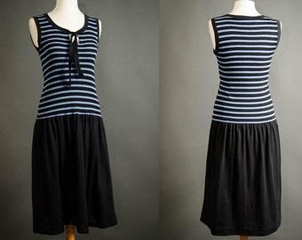 vintage cathy hardwick striped navy knit sailor drop waist dress