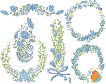 Wedding Monogram Flower Wreath Clip Art, Blue Bell Flower Frames, Periwinkle Floral Wreath ClipArt, Digital Bouquet Embellishment
