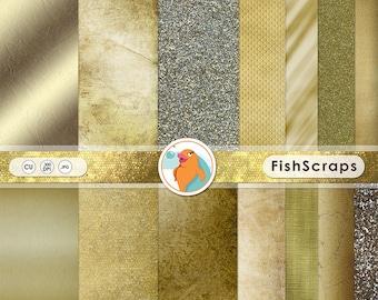 Gold Digital Papers, Golden Glitter Background, Gold Leaf Texture, Elegant Metallic Gold Paper, Gold Foil Digital Scrapbook Paper