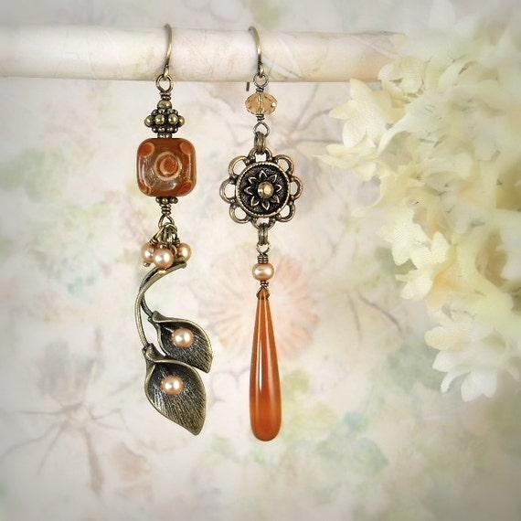 Calla Lily Asymmetrical Beaded Earrings, Earthy Fall Autumn Harvest Romantic Bohemian Flower Earrings, Cinnamon Caramel Spice Brown Earrings
