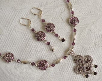 Swarovski Amethyst Coin Necklace and Earring Set