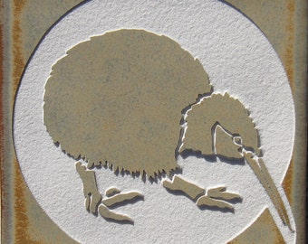 4x4 Kiwi Bird - Etched Porcelain Tile - SRA