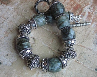 Forested Moonlight -- Mossy Agate stone and Silver bali beads Bracelet