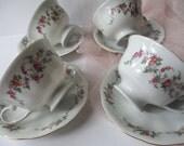 Vintage Floral Favolina Poland Teacups & Saucers Set of Four
