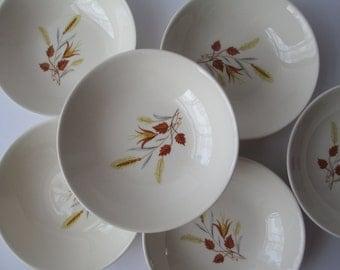 Vintage Dessert Bowls Taylor Smith & Taylor Autumn Harvest Set of Six