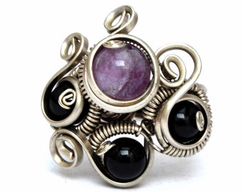 Black Purple Ring, Boho Ring, Wire Wrapped Ring, Gothic Ring, Bohemian Ring, Amethyst Ring, Silver Ring, Gemstone Ring, Womens Ring
