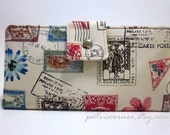 Handmade women wallet clutch - vintage postal stamps - ID clear pocket - Custom order - Flowers