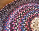 Ready To Ship Round Vintage Wool Braided Rug in Fushia, Rumba Red, and Hyacinth Violet with weaving accents