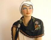 scarf with crochet edging, black orange vintage oya square cotton turkish