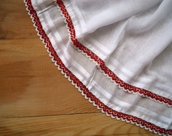 white cotton scarf with beaded edging, red, crochet with beads, vintage