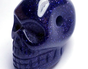 Skull Bead Navy Blue Goldstone Hand Carved 2mm hole ready to string Day of the dead Blue sparkles Goldstone