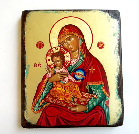 Orthodox Icon Madonna with Christ, handpainted icon of Virgin Mary and Baby Jesus 7 by 8 inches