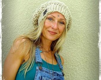 Beige cotton SLOUCHY Beanie hat crochet slouch hat Summer Groovy Girls Linen hat beret Hippie hat Women slouchy Beanies hand made GPyoga