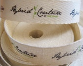 Twill Fabric Labels, half inch ribbon, spool - uncut, natural or white