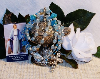 Our Lady of Grace Catholic Rosary - Blue Rosary - Rosary for the Veneration of the Virgin Mary