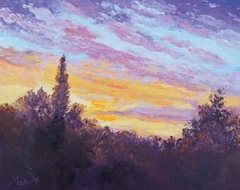 Ciel de lever de soleil couteau à Palette peinture à l'huile, paysage impressionniste, « L'éveil » Provence ciel originale, par Marion Hedger 10x12inch