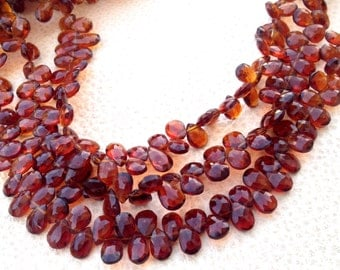 SUPERB- Deep BRANDY CITRINE Micro Faceted Pear Shape Briolettes,Amazing Rare Color, Full 8 Inch Strand, 7-8mm Long.