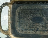 Vintage silver tone tray, engraved design, cart design, cute for display or serving