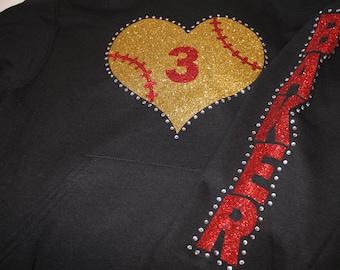 Softball Heart Hoodie or Sweatshirt, Softball Mom Hoodie, Softball Mom Bling, Softball Bling, Softball Heart, Softball Jacket,Baseball