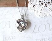SPARKLE love gigantic sparkling rhinestone heart necklace (silver)