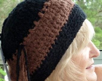 Bohemian Clothing Black Brown Original Crochet Hat