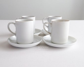 4 LaGardo Tackett for Schmid Midcentury White Cup and Saucer Sets