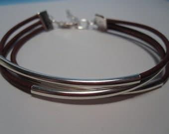 Leather Bracelet, Leather Wrap Bracelet, Leather Tube Bracelet, Multi Strand Leather, Bracelet, Leather, Tube, Silver, Black, Brown, Bead