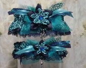 Navy and Teal Blue Kanzashi Flower Leopard Print Garter Set