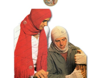 Mens Balaclava, Scarf, Fingerless Gloves Vintage Digital Knitting Pattern - Instant Download - PrettyPatternsPlease