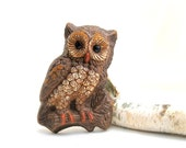 vintage owl.60's.wall decor.forest.woodlands.bird.composite.brown.from tessiemay