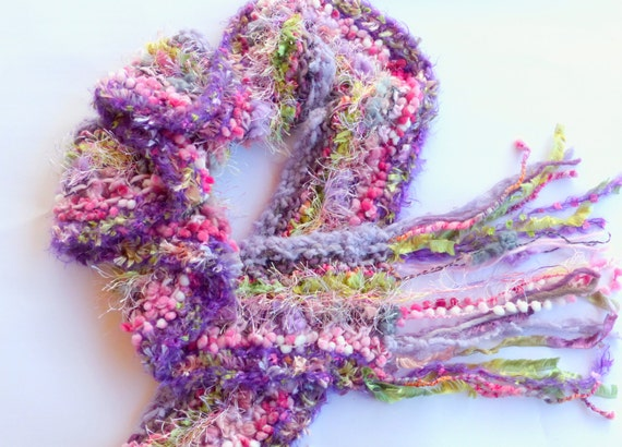 Hand knitted scarf, mulit coloured scarf ,