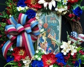 RESERVED FOR CORINNE      Americana Patriotic wreath Primitive Country  July 4th