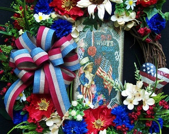 Americana Patriotic wreath Primitive Country  July 4th