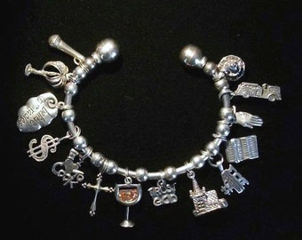 Bangle Silver Vintage Charm Bracelet  Hallmarked and Detailed  Sterling Silver Charms 1960s to 1980s