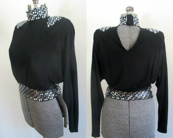 1980s Black Studded Crop Top Vintage Couture Disco Blouse