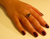 Hand Made Ring Gold filled Hammered Ring set With Smoky Quartz Gemstone Free Shipping
