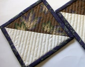 Grape Leaf Coasters Quilted Brown Purple Set of 2 Nature Quiltsy Handmade FREE U.S. Shipping
