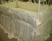 Cream Washed Linen Nursery-Ruffled Crib Bumpers with Sash Style Ties-Layered Crib Skirts-Velvet Ribbon Trim -Ruffled Euro Sham