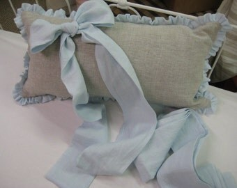 Washed Linen Ruffled Crib Bedding Separates-Ruffled Bumpers, Crib Skirt, Sash Ties, Crib Pillow