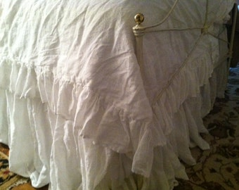 Romantic Linen Bedding-Vintage White Medium Weight Washed LinenBedding-Ruffled Duvet-Long Gathered Bed Skirt-Ruffled Pillowcase Shams