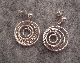 Elegant Dangle Hoop Earrings, Sterling Silver Multi hoop Earrings, Friendship Circle Earrings