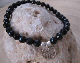 Black Beaded Bracelet flower of Life, Gemstone Bracelet with Seed of Life Charm, Elegant Faceted Onyx Beads with Flower of Life Pendant