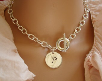 Chunky Chain Link Necklace Tag Necklace Monogram Silver Necklace