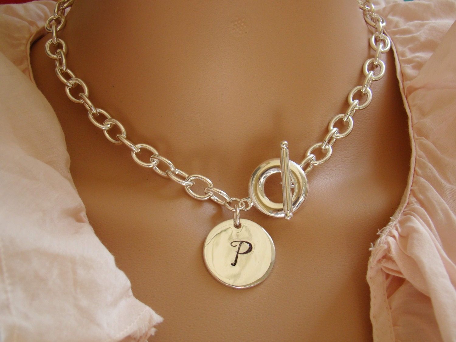 chunky chain link necklace tag necklace monogram silver. Black Bedroom Furniture Sets. Home Design Ideas