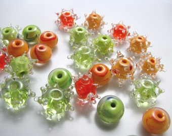 Cantaloupe Set (25) handmade glass beads, mini lampwork, special spacers
